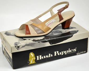 Vintage NIB Hush Puppies 7 M Slingback Heels Houn' Dawg Brown Strappy Faux Leather