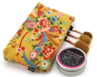 cosmetic pouch, cosmetic bag, makeup pouch, zipper pouch, cosmetic case,Peony Ocher