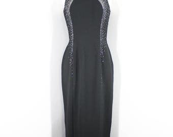 1990s Black Beaded High Neck Evening Dress.  Sleeveless, fitted, ombre beading. Size Medium.