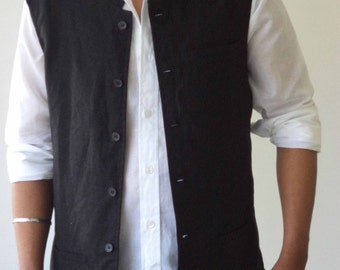 Mens  Linen Nehru Collar  Sleeveless Jacket for Winter, Plus size, Gift jackets.