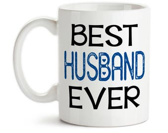 Coffee Mug, Best Husband Ever 001, Blue Heart Valentines Day Anniversary Gift Wedding Gift Love Romantic, Gift Idea, Large Coffee Cup