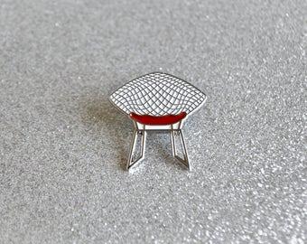 SALE - Diamond Chair Enamel Pin - Red Seat - Retro Pin - Lapel Pin - Soft Enamel Pin - Mid Century Modern - Harry Bertoia