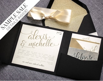 Black and Gold Wedding Invitations, New Years Eve Modern Glitter Invitation, Bat Mitzvah Pocketfold Invites - Playful Calligraphy SAMPLE