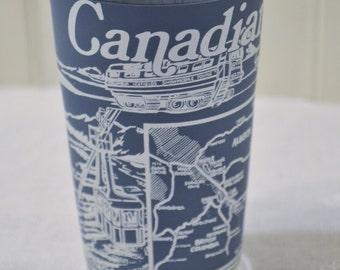 Vintage Canadian Rockies Glass Tumbler Travel Souvenir Memento Blue White PanchosPorch