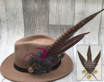 Deluxe size Pheasant Game Feather Brooch Pin with Shotgun cartridge 20 12 gauge