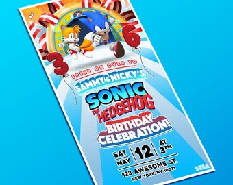 Personalized Sonic & Tails Double/Single Birthday Party Hi-Res Invitation Baby Shower Invite