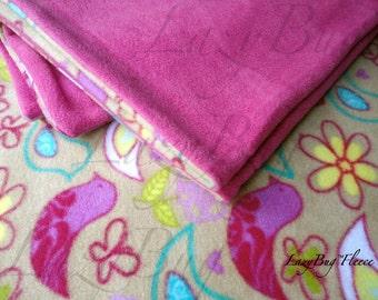 PlayYard Sheet and Blanket Set Handmade Fleece Bedding Set for Babies 'Birds and Flowers' Print