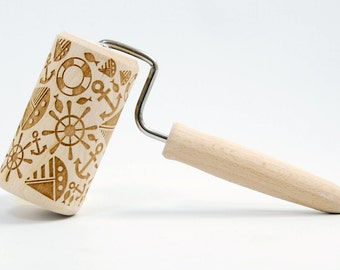 For sailor and all who love the sea, MIDI Embossed rolling pin, Engraved rolling pin