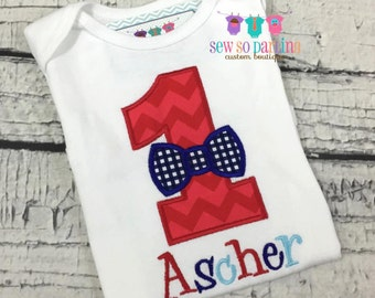 Bow tie 1st Birthday outfit - Boy Birthday red and navy blue Shirt - 1st Birthday Little Man Birthday Outfit - 1st Birthday Outfit