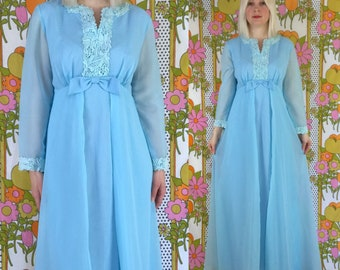 Vintage 1970s formal dress, 70s prom maxi dress, powder blue frilly maxi gown, formal gown, retro bridesmaid dress, 1960s empire waist maxi