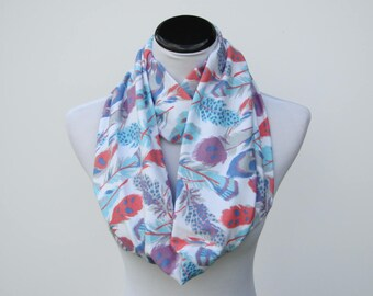 Feather Print Scarf Infinity Scarf for Woman Toddler Infant pastel purple coral teal scarf matching scarf for mom and little girl loop scarf