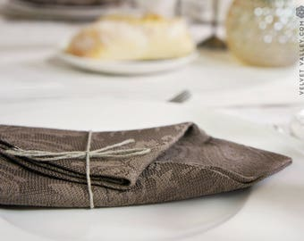 Linen vintage style cherry red/cacao brown/tortilla brown napkins-Luxurious vintage style table napkins
