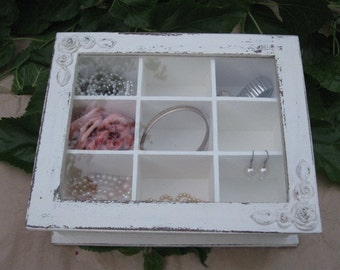 jewelry box vintage, Creamy Shabby Chic Home Decor Wooden Jewelry Box