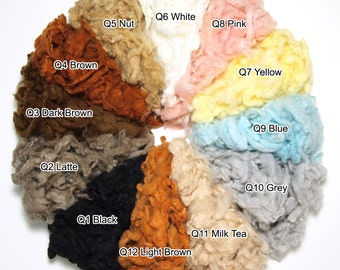 Needle felting and Wet Felting Felt Wool Color Scoured Series Curly Wool 12 color 10g