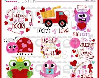 Valentine Clipart, Valentine Lettering, Love Bug Clipart, Frog Clipart, Valentine clip art, Instant download