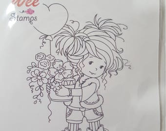 Whimsy mounted rubber stamp: Amy