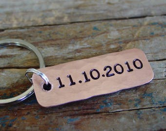 Date Keychain, Custom Hand Stamped, Personalized, Copper Keychain, Anniversary Gift, Wedding Date, Bride Groom Wedding Gift, Sobriety Gifts