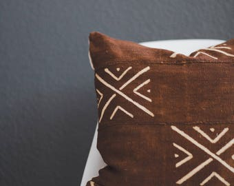 Brown Mali Mud Cloth Pillow Cover... African Mudcloth, Boho Mudcloth, Boho Decor Tribal Pillow, Throw Pillow, Linen