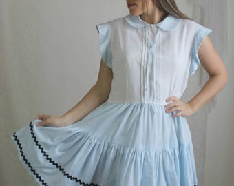60s Blue Striped Patio Dress // Vintage Baby Blue Short Sleeve Square Dancing Dress // Size: L