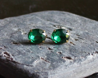 Emerald stud earrings, emerald estate style earrings, emerald bridal earrings, holiday gift ideas, gift ideas for her, unique Christmas gift
