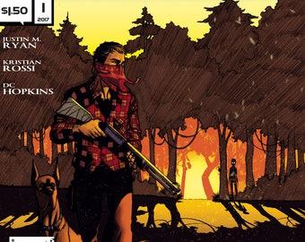 SIGNED COMICS: Trespasser #1 of 4 (Alterna Comics, 2017) Justin M. Ryan, Kristian Rossi, DC Hopkins newsprint comic book alien thriller