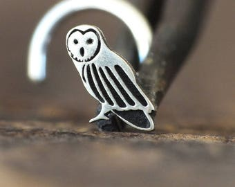 Silver Owl Nose Stud | Nature Nose Stud | Unique Nose Ring | Handmade Nose Stud | Nose Piercing | Nose Body Jewelry | Nose Jewelry