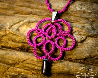 Pink and Silver Tatted Pendant