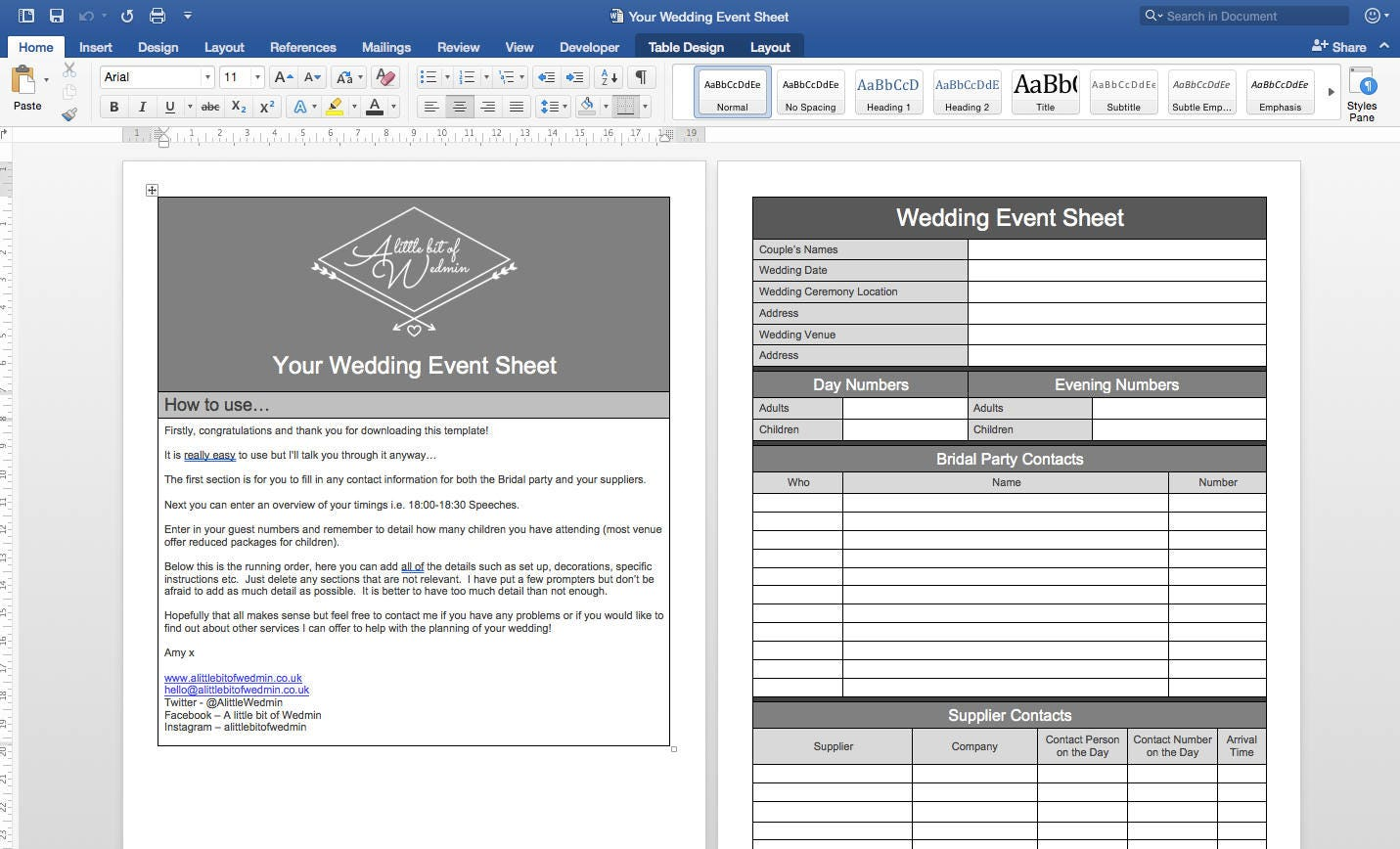 Your Wedding Event Sheet Wedding Planning Template