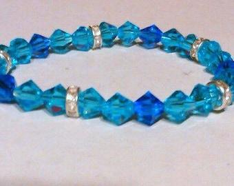 Blue crystal stretch braclet