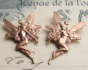 Fairy charms, 18x27mm (2 fairy pairs) left facing, right facing, faerie wings, pink fairy, fairy pendant, rose gold brass, antiqued rose ox