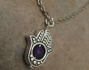 amethyst necklace, hamsa necklace, hamsa jewelry, hamsa hand jewelry, amethyst jewelry, hand of Fatima