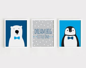 Printable Nursery Art Set of 3 Poster Baby boys room Wall art Kids room print Blue and Gray decor Dream big little one, Polar bear, Penguin