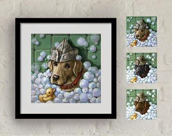 "Framed ""Bubble Bath"" Print Labrador Retriever Art 16""x16"""