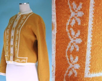 1960s Mustard Yellow Cardigan Sweater // 60s Yellow and White Nordic Inspired Knit Sweater