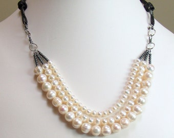 Contemporary Pearl Necklace, Freshwater Pearls and Leather, Multistrand Pearl Statement Bib, New Artisan Pearl Design, WillOaksStudio Pearls