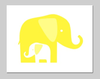 Modern Elephant Nursery Art - Mommy and Baby Elephants - 8x10 Print - CHOOSE YOUR COLORS - Shown in Lemon Yellow, Aqua and More