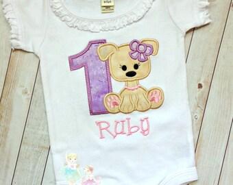 Puppy Birthday Shirt - Dog Birthday Shirt - First Birthday Outfit - 1st Birthday - Purple and pink puppy shirt - custom embroidered shirt