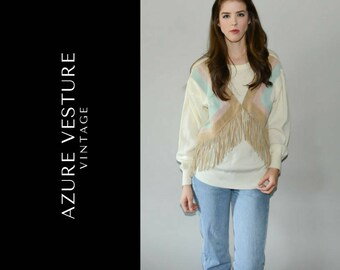 80s Knit Sweater with Suede Fringe Detail. Awesome Country Western Style Winter Kitsch Sweater. Retro 1980s Glam Sweater. Small Medium