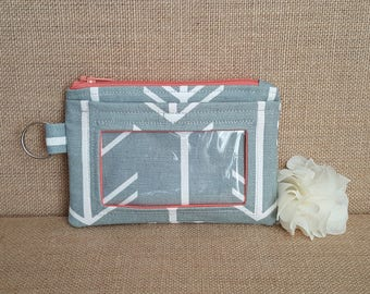 Gray and White Arrow Print with Coral Accents ID Wallet / Keychain Wallet / ID Holder