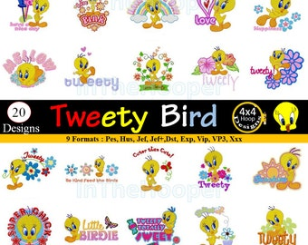 TWEETY BIRD Machine EMBROIDERY Designs Pes, Hus, Jef, Dst, Exp, Jef+, Vip, Vp3, Xxx