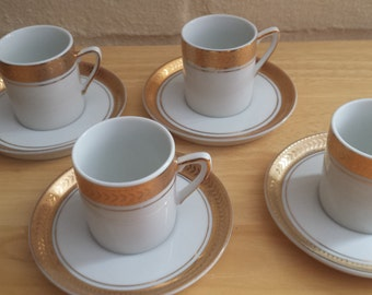 Lefton Gold Trimmed Demitasse Cups and Saucers - Set of 4