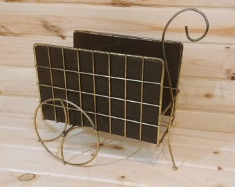 Mid Century Modern Brass and Wood Wheel Barrow Wagon 2 Slot Magazine Record Rack Log Firewood Holder