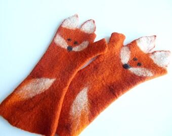 Felted fox mittens,fingerless mittens,fingerless gloves,wool mittens,fox mittens,Hand felted,long gloves, hand made,