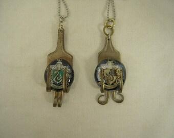 Repurposed Hammered Fork Necklace with Hogwarts Crest under Glass