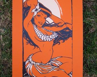Hula Girl - Orange and Tan - Screen Print