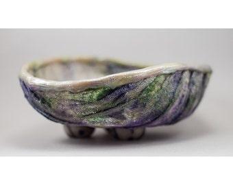 Fiber Bowl - Green Purple Pearl Home Decor Vessel No. 140