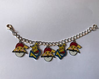 Pokemon Pikachu Silver Charm Bracelet
