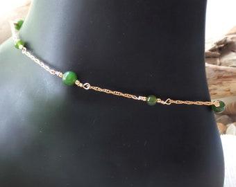 Golden Jade Ankle Bracelet, Anklet-Up cycled Vintage Vermeil-925 Sterling Silver-Gold Filled-Canadian Jade