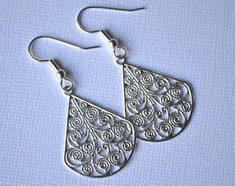 Bright Silver Filigree Teardrops . Earrings . Adele Collection