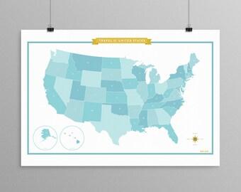 United States of America Map - Mint Blue - modern design print 13x19